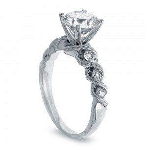 White Gold 1ct TDW Vintage Diamond Engagement Ring - Custom Made By Yaffie™