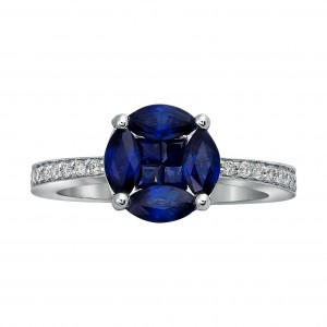 White Gold Vivid Blue Sapphire and 1/6ct Diamond Engagement Ring - Custom Made By Yaffie™