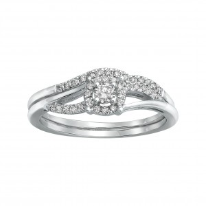 White Gold 1/3ct TDW Bridal Engagement Halo Ring Set - Custom Made By Yaffie™