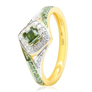 Brand New 0.52 Carat Princess and Round Shaped Green Diamond with Diamond Engagement Ring - Custom Made By Yaffie™