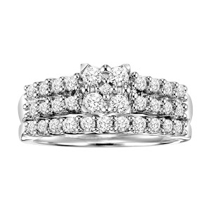 Sterling Silver 3/4ct Princess Diamond Bridal Ring Set - Custom Made By Yaffie™