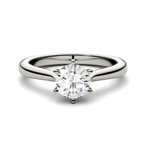 18ct White Gold 1ct DEW Forever One Round Colorless Moissanite Solitaire Ring - Custom Made By Yaffie™