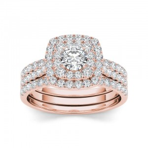 Rose Gold 1 1/2ct TDW Halo Engagement Ring Set - Custom Made By Yaffie™