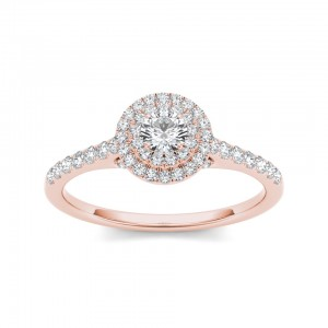 Rose Gold 1/2ct TDW Diamond Double Halo Engagement Ring - Custom Made By Yaffie™