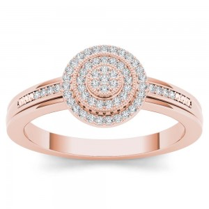 Rose Gold 1/6ct TDW Diamond Halo Engagement Ring - Custom Made By Yaffie™