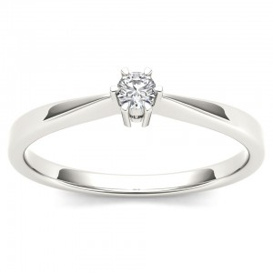 White Gold 1/10ct TDW Diamond Classic Engagement Ring - Custom Made By Yaffie™