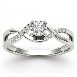 White Gold 1/20ct TDW Diamond Criss-Cross Engagement Ring - Custom Made By Yaffie™
