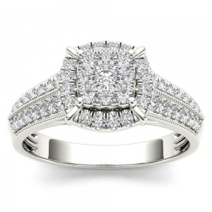 White Gold 1/2ct TDW Diamond Cluster Halo Engagement Ring - Custom Made By Yaffie™