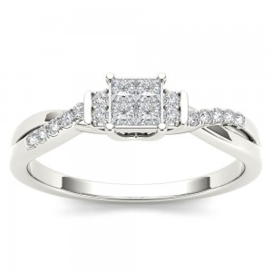 White Gold 1/4ct TDW Diamond Three-Stone look Engagement Ring - Custom Made By Yaffie™