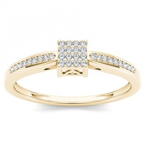Gold 1/10ct TDW Diamond Cluster Engagement Ring - Custom Made By Yaffie™