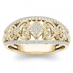 Gold 1/5ct TDW Diamond Fashion Engagement Ring - Custom Made By Yaffie™