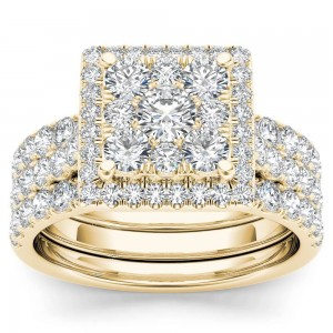 Gold 2ct TDW Diamond Cluster Engagement Ring Set with Two Band - Custom Made By Yaffie™