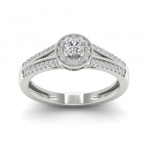 1/3ct TDW Diamond Round Shape Halo Engagement Ring - Custom Made By Yaffie™