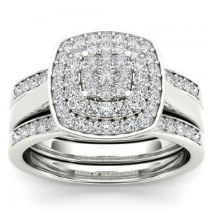White Gold 1/3ct TDW Diamond Cluster Halo Ring - Custom Made By Yaffie™