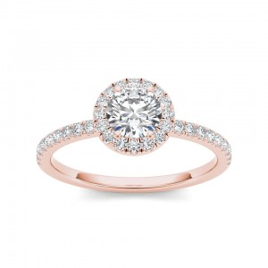 Rose Gold 3/4ct TDW Diamond Halo Engagement Ring - Custom Made By Yaffie™