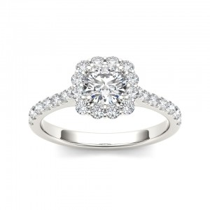 White Gold 1 1/4ct TDW Diamond Halo Engagement Ring - Custom Made By Yaffie™