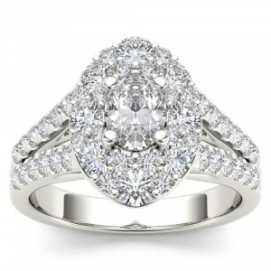 White Gold 1 7/8ct TDW Oval Shape Diamond Halo Engagement Ring - Custom Made By Yaffie™