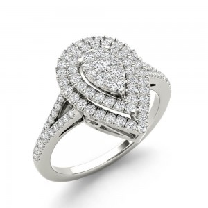White Gold 1/2ct TDW Diamond Cluster Pear-Shaped Engagement Ring - Custom Made By Yaffie™