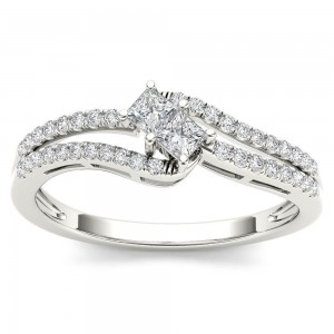 White Gold 1/3ct TDW Two-Stone Diamond Engagement Ring - Custom Made By Yaffie™