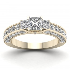Gold 2 2/5ct TDW Diamond Princess-cut Engagement Ring - Custom Made By Yaffie™