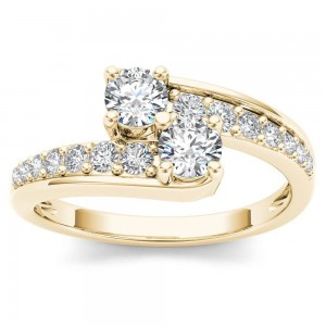 Gold 5/8ct TDW Two-Stone Diamond Engagement Ring - Custom Made By Yaffie™