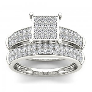 S925 Sterling Silver 3/4 ct TDW Diamond Cluster Engagement Ring Set - Custom Made By Yaffie™