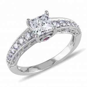 White Gold 1ct TDW Princess Diamond Ring - Custom Made By Yaffie™