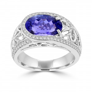 La Vita Vital White Gold Oval 3.62ct Tanzanite and Diamond 0.32ct TDW Ring - Custom Made By Yaffie™