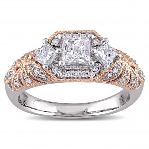 2-Tone White and Rose Gold 1ct TDW Diamond Princess and Round-cut Vintage Engagement Ring - Custom Made By Yaffie™