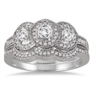 White Gold 3/4ct TDW Three-stone Antique Diamond Bridal Ring Set - Custom Made By Yaffie™