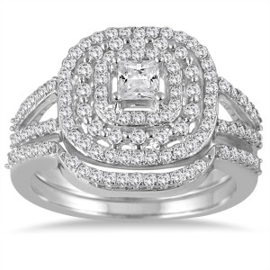 White Gold 7/8ct TDW Diamond Triple Halo Princess Bridal Ring Set - Custom Made By Yaffie™