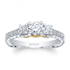 Matthew Ryan Design Two-tone Gold 1 1/6ct TDW Diamond Vintage Style Engagement Ring - Custom Made By Yaffie™