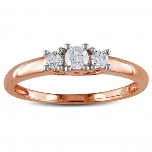 Pink Gold 1/4ct TDW Diamond 3-stone Ring - Custom Made By Yaffie™