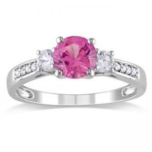 White Gold 1 3/8ct TGW Created Pink and White Sapphire Ring - Custom Made By Yaffie™