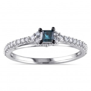 White Gold 1/2ct TDW Princess-cut Blue and Round White Diamond Stackable Engagement Ring - Custom Made By Yaffie™