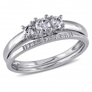 White Gold 1/3ct Diamond 3-Stone Engagement Bridal Ring Set - Custom Made By Yaffie™
