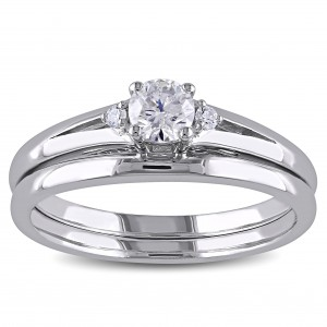 White Gold 1/3ct TDW Diamond Bridal Ring Set - Custom Made By Yaffie™