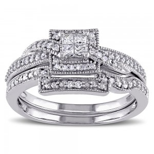 White Gold 1/3ct TDW Princess Cut Diamond Bridal Ring Set - Custom Made By Yaffie™