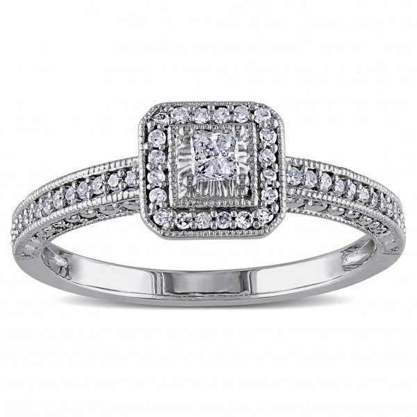 White Gold 1/4ct TDW Diamond Promise Halo Ring - Custom Made By Yaffie™
