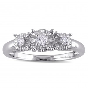 White Gold 1/6ct TDW Diamond 3-Stone Engagement Ring - Custom Made By Yaffie™