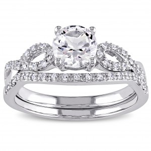 White Gold Created White Sapphire and 1/6ct TDW Diamond Bridal Ring Set - Custom Made By Yaffie™