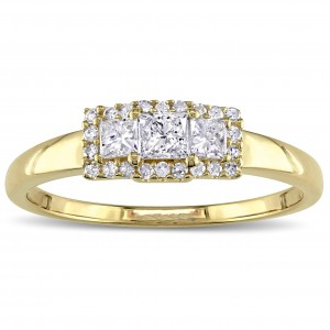 Gold 1/2ct TDW Round and Princess-cut 3-stone Engagement Ring - Custom Made By Yaffie™