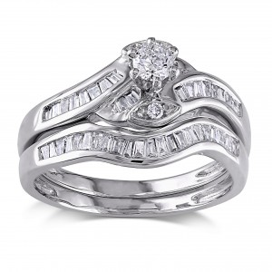 White Gold 1/2ct TDW Diamond Bridal Ring Set - Custom Made By Yaffie™