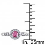 White Gold 1/2ct TDW Pink and White Diamond Halo Ring - Custom Made By Yaffie™