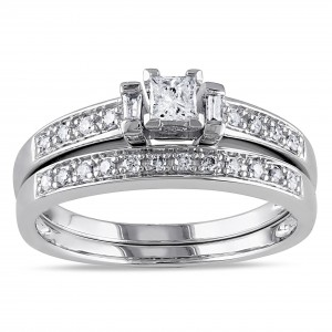 White Gold 1/3ct TDW Princess Diamond Bridal Set - Custom Made By Yaffie™