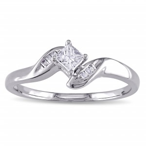 White Gold 1/4ct TDW Princess-Cut Diamond Promise Ring - Custom Made By Yaffie™