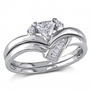 White Gold 3/8ct TDW Trillion Cut 2-Piece Diamond Ring Set - Custom Made By Yaffie™