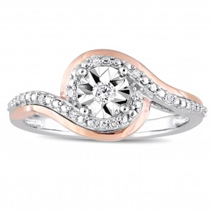 2-Tone White and Rose Gold 1/10ct TDW Diamond Crossover Bypass Engagement Ring - Custom Made By Yaffie™