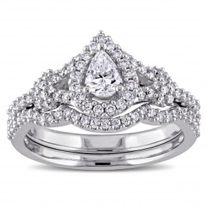 7/8ct TDW Pear and Round-Cut Diamond Halo Split Shank Bridal Ring Set in White Goldado - Custom Made By Yaffie™