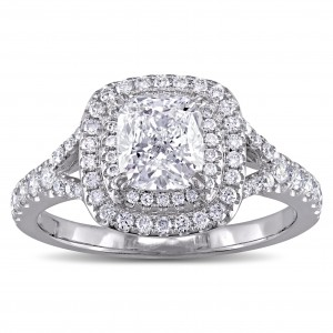 GIA Certified 1-5/8ct TDW Cushion-Cut Diamond Double Halo Engagement Ring in White Gold - Custom Made By Yaffie™